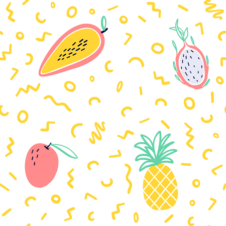 Vector tropical fruit background with pineapple, mango, watermelon, dragon fruit, Pitaya, banana, papaya. Summer exotic fruit seamless pattern with memphis style elements Stock Illustratie