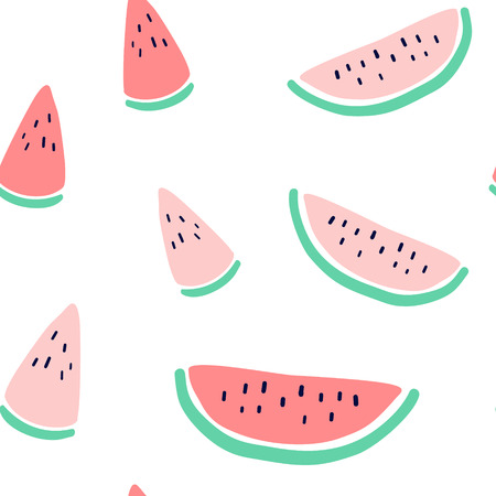 Vector tropical fruit background with watermelon. Summer exotic fruit seamless pattern  イラスト・ベクター素材