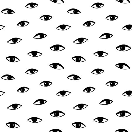 Hand drawn eye doodles icon seamless pattern in retro style. Vector beauty illustration of open and close eyes for cards, textiles, wallpapers, backgrounds.