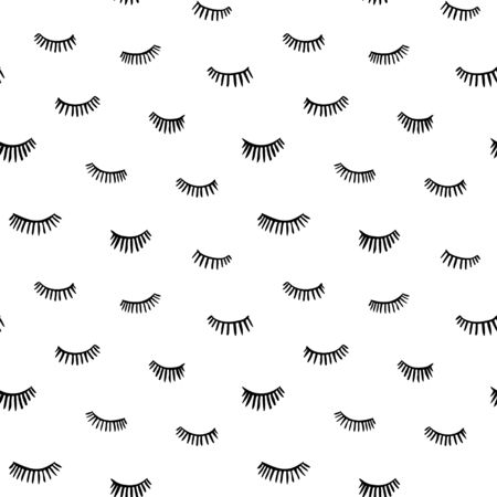 Hand drawn eyelashes doodles icon seamless pattern in retro style. Vector beauty illustration of open and close eyes for cards, textiles, wallpapers, backgrounds.
