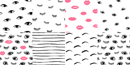 Hand drawn eye, pink lips doodles seamless pattern set in retro style. Vector beauty illustration of open and close eyes for cards, textiles, wallpapers, backgrounds.