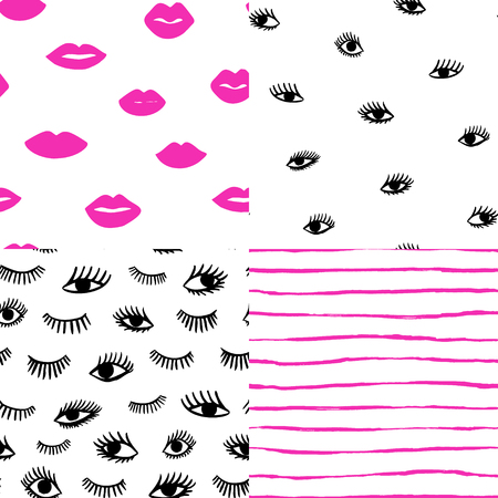 Hand drawn eye, pink lips doodles seamless pattern set in retro style. Vector beauty pop art illustration of open and close eyes for cards, textiles, wallpapers, backgrounds.