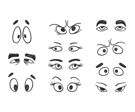 Vector cute happy faces. Doodle cartoon emotion, smile