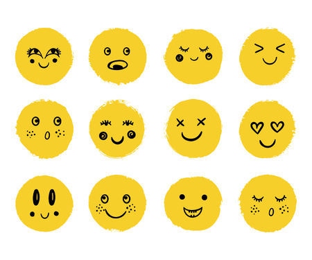 Vector cute happy faces. Doodle cartoon emotion, smile