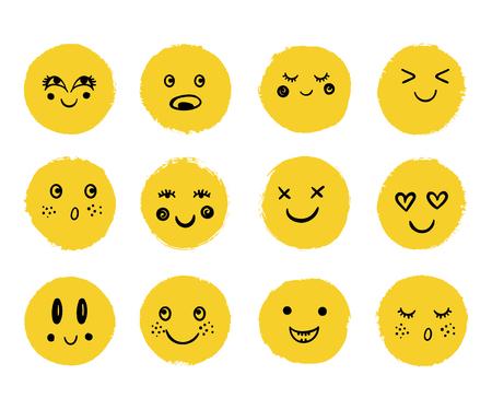 Vector mignons visages heureux. Émotion de dessin animé de Doodle, sourire Vecteurs