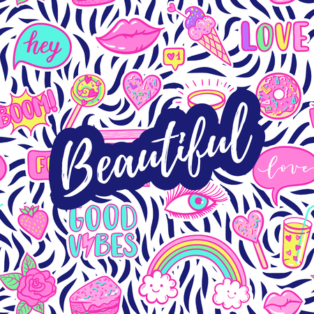Beautiful greeting card, fashion poster. Hand drawn fashion pink color patches: rainbow, doughnut, cat, macaron, cake, lollipop seamless pattern. Vector pop art sticker, patches pin 80s-90s style.