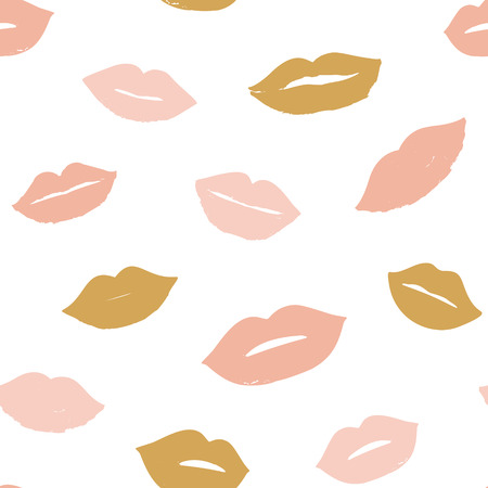 Beauty, makeup, cosmetic fashion seamless pattern. Vector red pink color doodle lips patches in pop art 80s-90s style. Woman's emotions mouth.