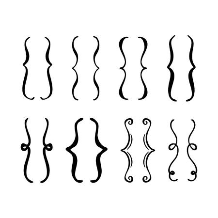 Set di parentesi disegnate a mano. Icona di scarabocchio di vettore. Vettoriali