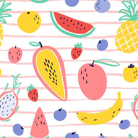Fond de fruits tropicaux vectoriels avec durian, ananas, mangue, pastèque, fruit du dragon, Pitaya, banane, papaye. Modèle sans couture de fruits exotiques d'été sur les rayures