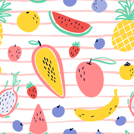 Vector tropical fruit background with durian, pineapple, mango, watermelon, dragon fruit, Pitaya, banana, papaya. Summer exotic fruit seamless pattern on stripes Stock Illustratie
