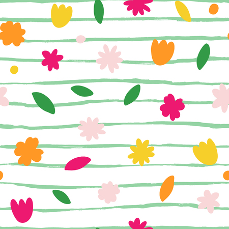 Hand drawn abstract seamless pattern. Autumn leaves background