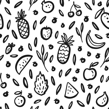 Vector tropical fruit background with durian, pineapple, watermelon, banana, dragon fruit, Pitaya. Summer exotic fruit black and white seamless pattern. Hand drawing illustration, wrap, textile