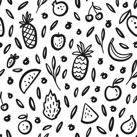 Vector tropisch fruit achtergrond met durian, ananas, watermeloen, banaan, dragon fruit, pitaya. Zomer exotisch fruit zwart-wit naadloze patroon. Hand tekenen van illustratie, omslag, textiel
