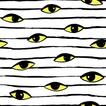 Hand drawn eye doodles icon seamless pattern in retro pop up style. Vector beauty illustration of open and close eyes for cards, textiles, wallpapers, backgrounds.