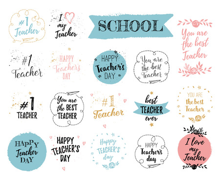 Happy Teacher's Day labels, greeting cards, posters set. Vector quote I love my Teacher, You are the best Teacher on a white background with hearts, stars, flowers, airplane. Vektoros illusztráció