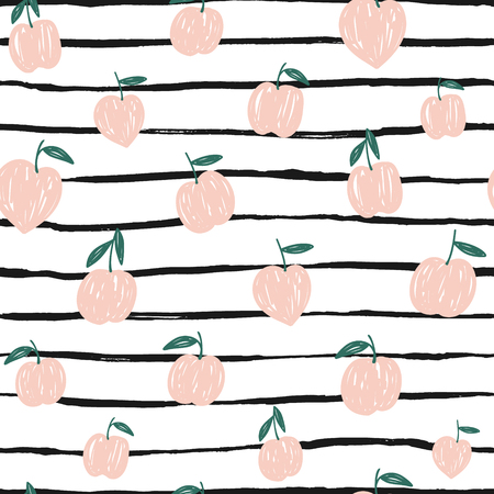 Peaches background. Hand drawn abstract seamless pattern.