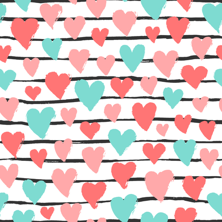 Colorful hearts, stripes seamless pattern. Vector grunge design for cards, web, backgrounds.