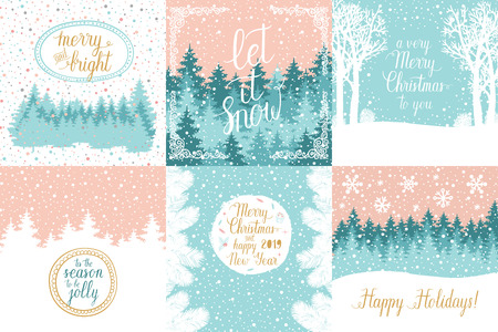 Merry and Bright Christmas, Happy Holidays, Happy New Year greeting cards set. Vector winter holidays backgrounds with hand lettering calligraphic, christmas tree branches, snowflakes, falling snow. Banque d'images - 109646568