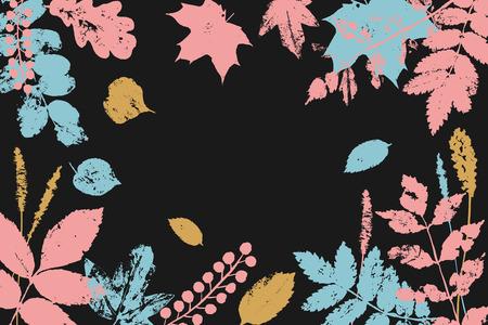Fall leaves festival print, banner. Vector autumn background. Hand drawn fall design elements. Çizim