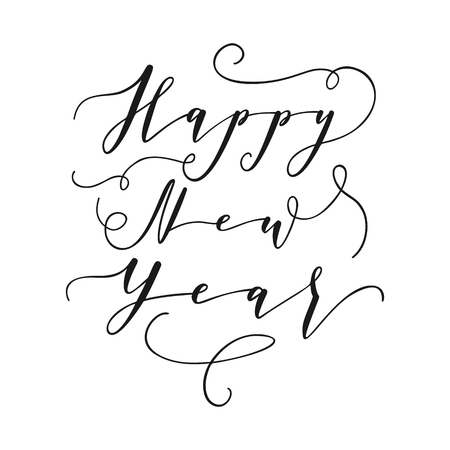 Happe New Year hand lettering calligraphy isolated on white background. Vector holiday illustration element. Black eve inscription text