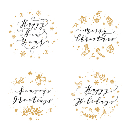 Christmas and Happy New Year wishes for labels, emblems, logo, text, greeting cards set. Vector winter holidays backgrounds with hand lettering calligraphy Çizim