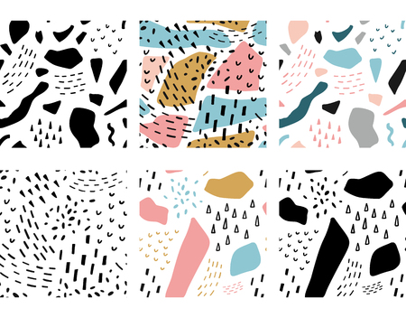 Geometric memphis abstract seamless patterns set. Fashion fabric background illustration