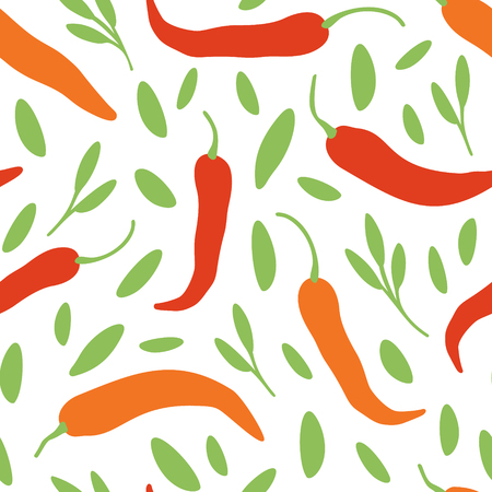 Vector chili, cayenne hot pepper, herbes background. Mexican exotic spicy seamless pattern. Hand drawing food illustration, wrap, fabric, textile