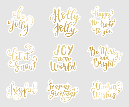 Christmas and Happy New Year wishes for labels, emblems, logo, text, greeting cards set. Vector winter holidays stickers backgrounds with hand lettering calligraphy Ilustrace