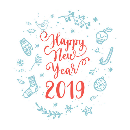 Happy New Year wishes for label emblem, logo, text, greeting card. Vector winter holidays backgrounds with hand lettering calligraphy Çizim