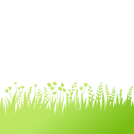 Vector green grass: natural, organic, bio, eco label and shape on white background Ilustracja