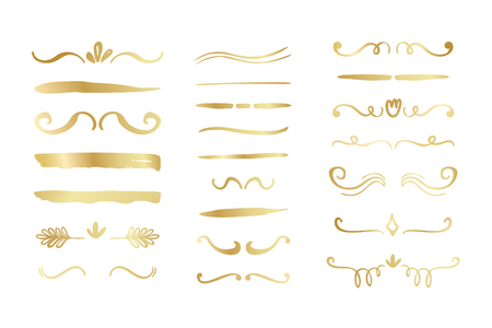 Hand drawn golden gradient borders, brackets, swirls, dividers set. Vector ink brush elements.