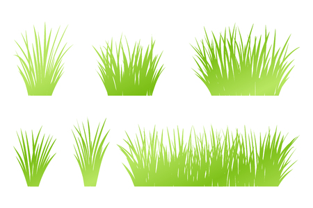 Vector green grass: natural, organic, bio, eco label and shape on white background Vettoriali