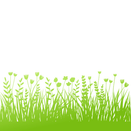 Vector green grass: natural, organic, bio, eco label and shape on white background Иллюстрация