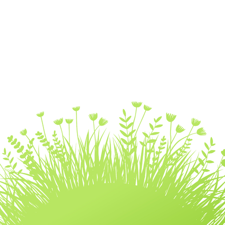 Vector green grass: natural, organic, bio, eco label and shape on white background Ilustrace