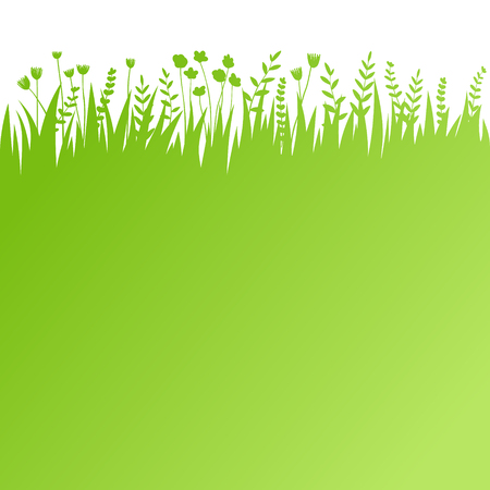 Vector green grass: natural, organic, bio, eco label and shape on white background  イラスト・ベクター素材