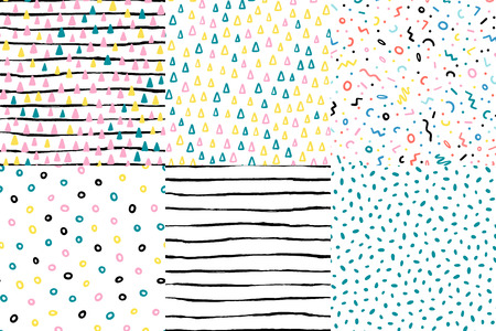 Hand drawn cute kids abstract seamless pattern set. Rustic, boho simple colorful background. Cartoon illustration