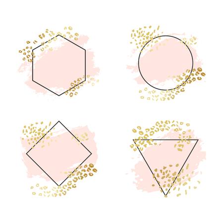 Streszczenie tło wektor geometryczne, ilustracja farby pędzlem, rama, element, zestaw kształtów. Różowe pociągnięcia pędzlem z bogatą złotą, egzotyczną teksturą skóry lamparta