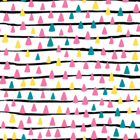 Hand drawn cute kids abstract seamless pattern. Rustic, boho simple colorful background. Cartoon illustration