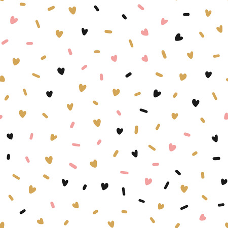 Hand drawn cute pink hearts confetti abstract seamless pattern. Rustic, boho simple colorful background. Cartoon illustration