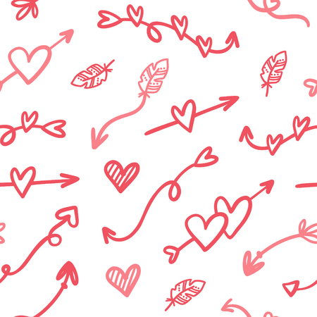 Vector fashion abstract seamless pattern with arrow, hearts on Happy Valentines Day. Cartoon doodle illustration background Ilustracja