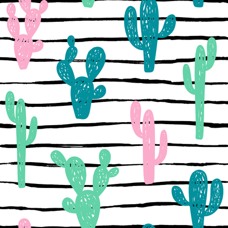 Hand drawn cute kids abstract seamless pattern with cactus. Rustic, boho simple colorful background. Cartoon illustration