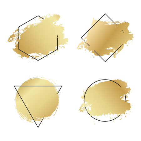 Abstract geometric golden vector background, brush paint illustration, frame, element, shape set. Ink brush stroke with rich gold texture Ilustracja