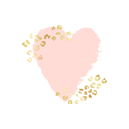 Abstract heart vector background, brush illustration. Pink ink brush stroke with rich golden exotic leopard animal skin texture