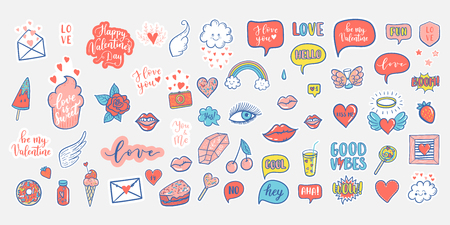 Vector hand drawn fashion elements for wedding, Valentines Day, love prints background. Labels, speech bubble, heart, arraw, wings, flowers set