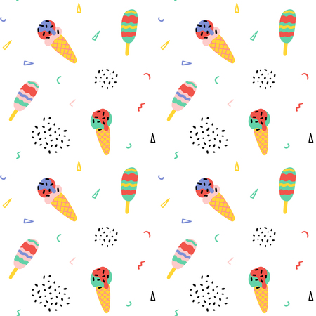 Vector ice-cream cone seamless pattern background. Hand drawing food illustration, wrap, fabric, textile
