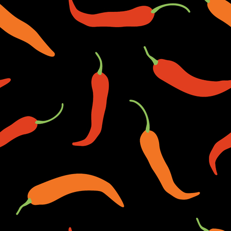 Vector chili, cayenne hot pepper background. Mexican exotic spicy seamless pattern. Hand drawing food illustration, wrap, fabric, textile