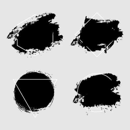Abstract geometric vector background, brush paint illustration, frame, element, shape set. Ink brush stroke with black texture Ilustracja