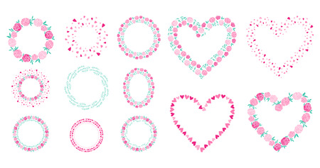 Vector hand drawn spring flower wreath elements Happy Valentines Day. Illustration set Ilustracja
