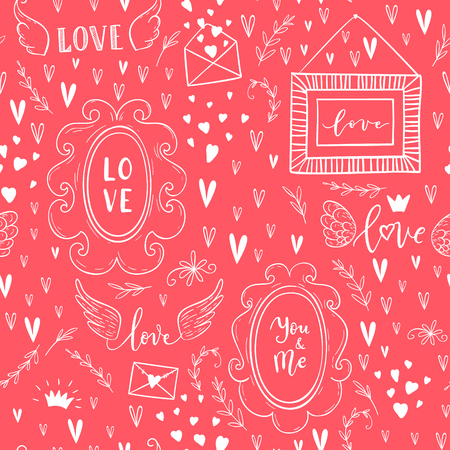 Vector fashion abstract seamless pattern with arrow, love text, crown,wings, hearts on Happy Valentines Day. Cartoon doodle illustration background