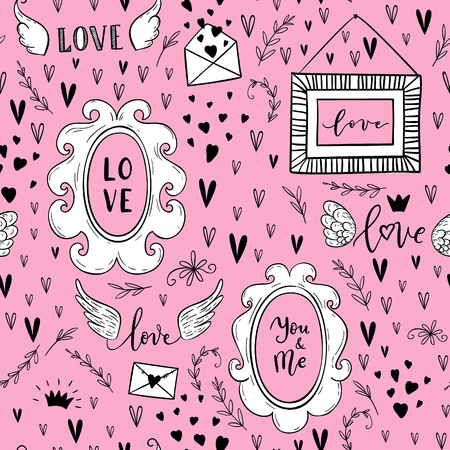 Vector fashion abstract seamless pattern with arrow, love text, crown, hearts on Happy Valentines Day. Cartoon doodle illustration background Ilustracja